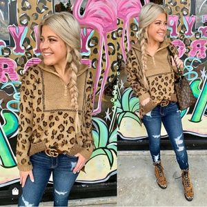 Tops - Softest Leopard pullover - BROWN